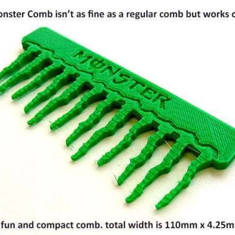 7a1b64368725d2dd184a5cf16eb74ccc_display_large.jpg Download free STL file 'Monster' Comb • Object to 3D print, Muzz64