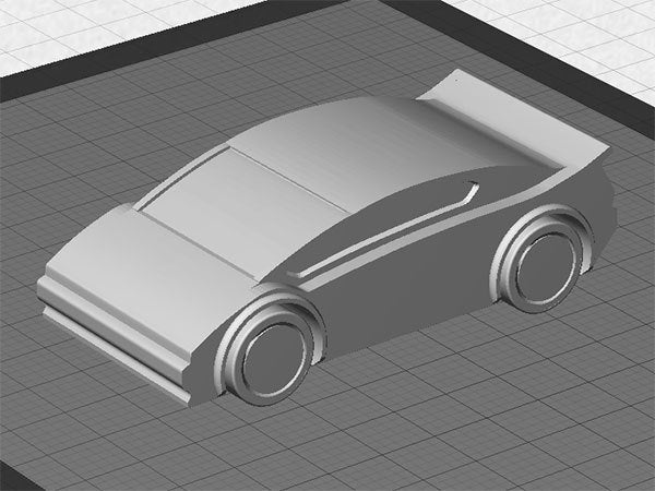 sportscar_display_large.jpg Download free STL file Sports Car - One piece print with moving wheels • 3D printable model, Muzz64