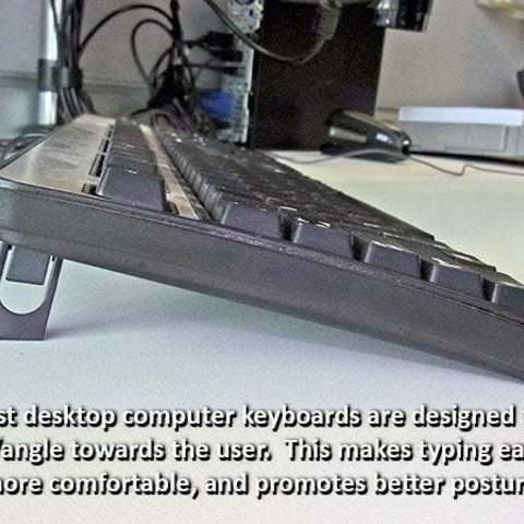 """keyboard_display_large.jpg Download free STL file """"Tilt Bar"""" angles Laptop Keyboards for improved comfort, ease of use and convenience • 3D printing design, Muzz64"""