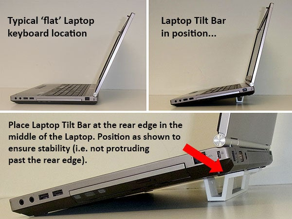 """positioning_display_large.jpg Download free STL file """"Tilt Bar"""" angles Laptop Keyboards for improved comfort, ease of use and convenience • 3D printing design, Muzz64"""