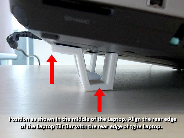 """position_display_large.jpg Download free STL file """"Tilt Bar"""" angles Laptop Keyboards for improved comfort, ease of use and convenience • 3D printing design, Muzz64"""