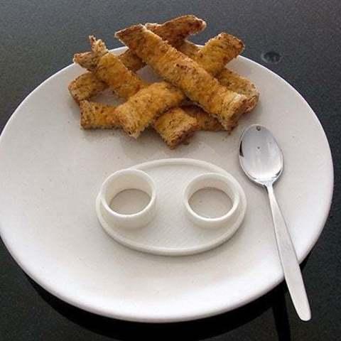 empty_display_large.jpg Télécharger fichier STL gratuit Serveur d'oeuf cuit - Contient proprement les deux parties d'un oeuf cuit coupé pendant qu'il est mangé. • Design pour impression 3D, Muzz64