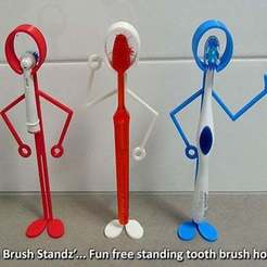 Free STL file 'Tooth Brush Standz' ... Fun free standing tooth brush holders!, Muzz64