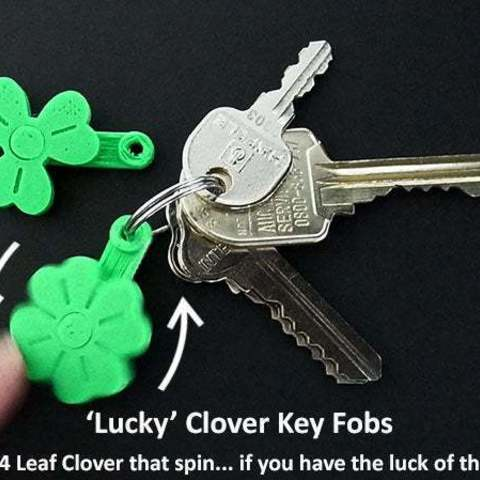 Download free 3D printer files 'Lucky' Clover Spinning Key Fobs, Muzz64