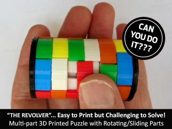 "4b1c59c7728e2b1cb65f6cb20aaf5cf9_display_large.jpg Download free STL file The ""Revolver""... easy to print but challenging to solve! • Template to 3D print, Muzz64"