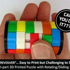 "Download free 3D printer files The ""Revolver""... easy to print but challenging to solve!, Muzz64"