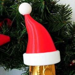 santahat_1_display_large.jpg Download free STL file Santa Hat - Christmas decoration that fits onto the top of a bottle of Bubbly! • 3D print model, Muzz64