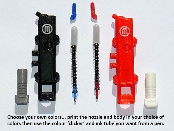 """colors_display_large.jpg Download free STL file """"Ink Extruder"""" - Ballpoint Click Pen that looks like a Smart Extruder! • 3D printing model, Muzz64"""