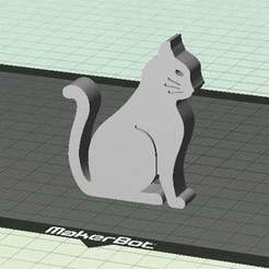 Download free 3D printer files Cat - Sitting with Whiskers (Countersunk Grooves), Muzz64