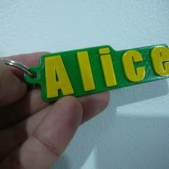 Download free STL files Alice locksmith - Chaveiro - keychain, fabiomingori