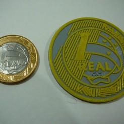 Download free 3D printing files giant coin 1 Real - Brazil - Brasil, fabiomingori