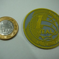 Descargar archivos STL gratis moneda gigante 1 Real - Brasil - Brasil, fabiomingori