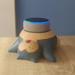 Download 3D printing designs Alexa support snorlax low poly, ruiperez3
