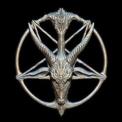 Télécharger fichier STL Médaillon, représentant la divinité baphomet, que les Templiers étaient accusés de vénérer, fichier STL, OBJ pour imprimantes 3D, deux tailles • Objet pour imprimante 3D, Cody3D
