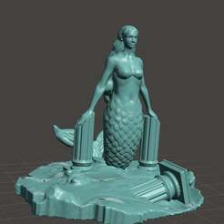 Download free 3D printer model Mermaid among ruins Cake Topper, LucasLabrador