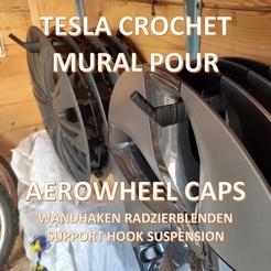 00titrefelgenhalter.jpg Download STL file Tesla Model 3 S X Y Aerowheel Caps Hook Wall Bracket • Design to 3D print, giacomelli