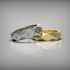 Download 3D printer templates Wedding rings, Golden-Snake