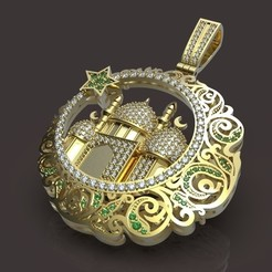 Pendant with a mosque.jpg Download STL file Pendant with a mosque • 3D printing object, Golden-Snake