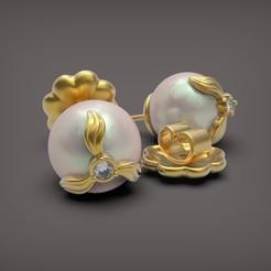 Earrings with Pearls 001.jpg Télécharger fichier STL Boucles d'oreilles avec perles • Modèle pour imprimante 3D, Golden-Snake