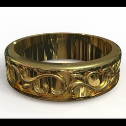 STL A ring with ornaments., Golden-Snake