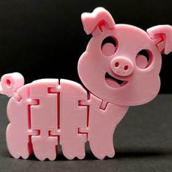 Download free STL file Flexi Articulated Pig • Template to 3D print, fixumdude