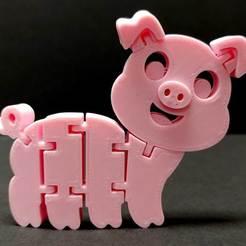FlexiPig.jpg Download free STL file Flexi Articulated Pig • Template to 3D print, fixumdude