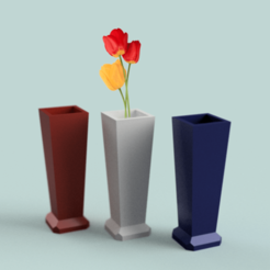Set Macetas con tulipán.png Download STL file Beautiful lowpoly flower pot for home decoration with plants • 3D printing design, OZONE