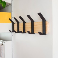 Free 3D printer model Modern Coat rack with 3d Printed Hooks, 3DDIY
