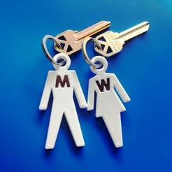 IMG_0664.JPG Download STL file SIMPLE MAN WOMAN KEYCHAIN FOR TOILET KEYS • 3D printer object, match3d