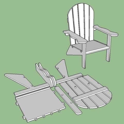 Chair_Snip_4_display_large.jpg Download free STL file Adirondack Chair • 3D printing design, Lurgmog