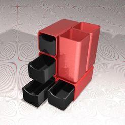 Télécharger fichier STL Pot à crayons avec 4 tiroirs • Design pour impression 3D, Systeme_D