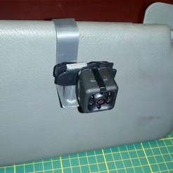 Download STL file Adjustable mini-camera support on a car sun visor • 3D printable design, Systeme_D
