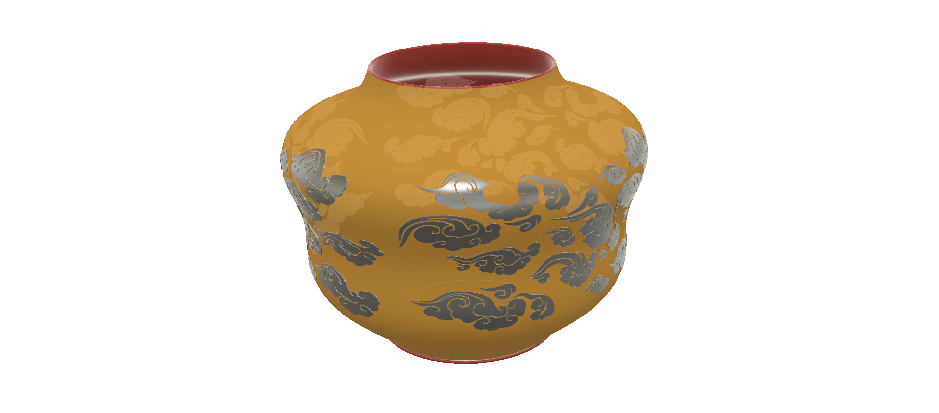"pot-vase-1001 v2-02.png Download STL file vase cup pot jug vessel ""spring chinese clouds"" v1001 for 3d-print or cnc • 3D printable model, Dzusto"