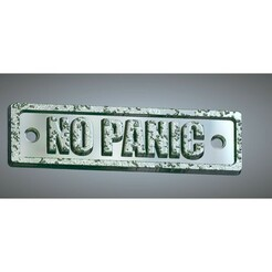 """Decor-no-panic-03-00.jpg Download STL file Decor Sign """"NO PANIC"""" symbol signpost movement and direction Hand bas-relief real 3D Relief For CNC building decor wall or door-mount for decoration dp-01 3d print • Design to 3D print, Dzusto"""