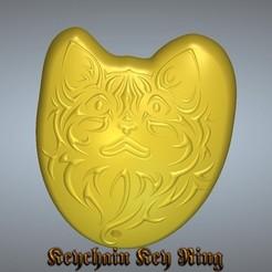 kitten-2200-00.jpg Download STL file keychain Kitten Cat keyring trinket neck pendant key-keeper k03 3d-print and cnc • 3D printer object, Dzusto
