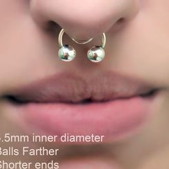 "Download 3D printer files fake nose hook FAKE NIPPLE PIERCING ""BALLS FARTHER"" Female Septum Barbaella male Non-Piercing Body Jewellery Bondage Weight femJ-41 3d print cnc, Dzusto"