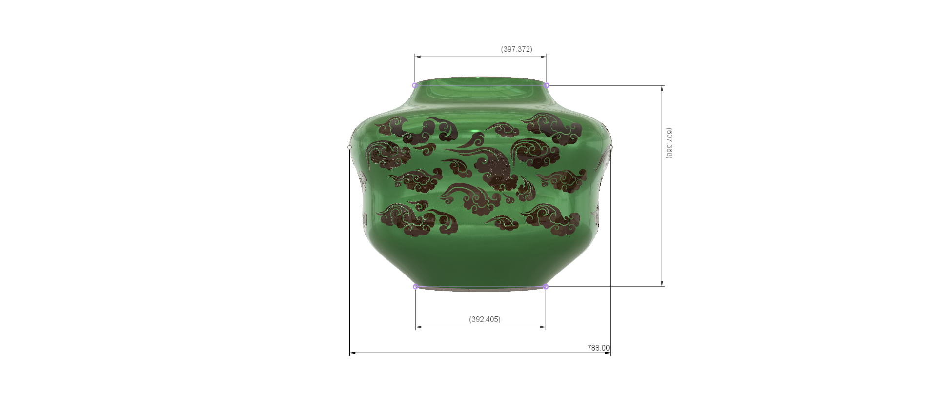 "pot-vase-1001 v2-d21.png Download STL file vase cup pot jug vessel ""spring chinese clouds"" v1001 for 3d-print or cnc • 3D printable model, Dzusto"