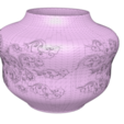 "pot-vase-1001-low-91.png Download STL file vase cup pot jug vessel ""spring chinese clouds"" v1001 for 3d-print or cnc • 3D printable model, Dzusto"