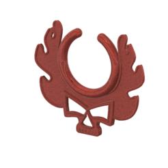 "fem-jewel-28 v13-01.png Download STL file fake nose hook ""burning skull"" FAKE NIPPLE PIERCING Female male Non-Piercing Body Jewellery Bondage Weight femJ-28 3d print cnc • 3D print design, Dzusto"