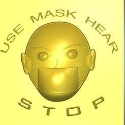 Mask-03-00.jpg Download STL file warning attention covid-19 protective coronavirus virus mask door hinge keyring trinket wall pendant  dv-mask-03 3d-print and cnc • Object to 3D print, Dzusto