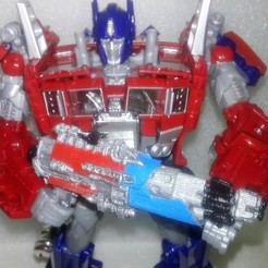 Download STL file Transformers DOTM AOE Optimus Prime Tri-Barrel Blaster • 3D printer design, Sieg_kai