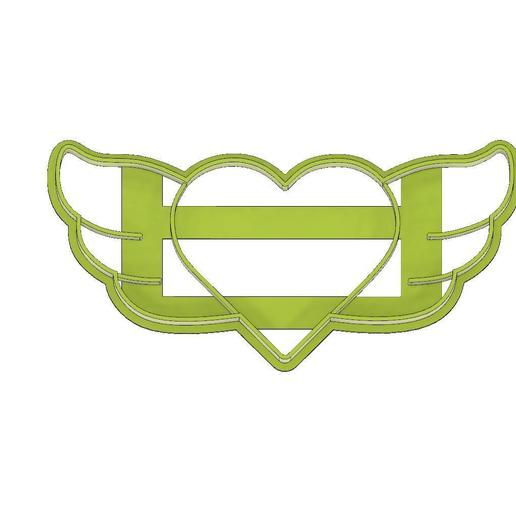 Download 3D printer designs HEART FONDANT COOKIE CUTTER WITH WINGS, LOVE, HEART, mipm
