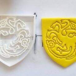 DSC07153.JPG Download STL file Cortador de galletas Targaryen Game Of Thrones • 3D printing design, mipm