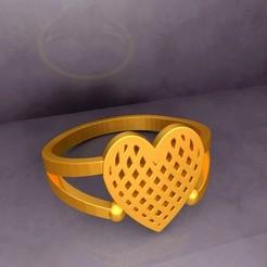 Download free 3D printer model KTFRD04 Filigree Heart Geometric Ring 3D design , KTkaRAJ