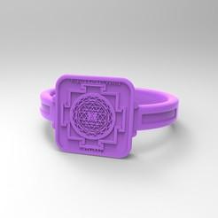 Download free 3D printing templates Chakra Tripura Sundari Ring Yantra Meditation Symbol, KTkaRAJ