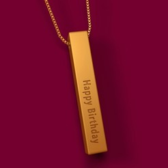 Download free STL Happy Birthday Vertical Bar Necklace KeyChain 3D Model STL, KTkaRAJ