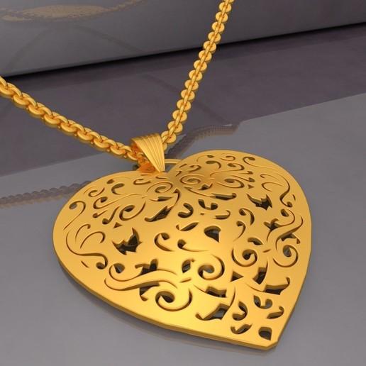 Download 3D printing templates Filigree Heart Pendant KTFHP03 3D Model STL, KTkaRAJ