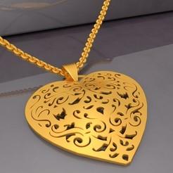 Preview-01-Filigree Heart Pendant KTFHP03 3D Model STL.jpg Télécharger fichier STL Pendentif Coeur Filigrane KTFHP03 Modèle 3D STL • Modèle imprimable en 3D, KTkaRAJ
