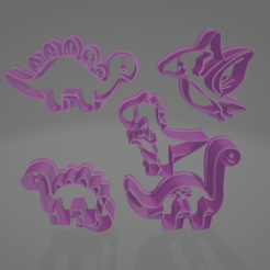 Captura de pantalla (580).png Download STL file Dinosaur-shaped cookie cutter • 3D printing template, LoQuieroen3D