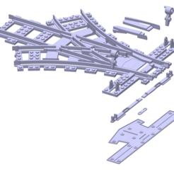 Download 3D printing files Lego triple Switch Modular Train Track, dreagon29